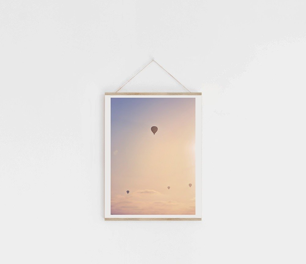 balloons rising in the air vertical print in wood hanger