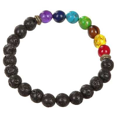 AN105 - Lava Rock Chakra Bead Bracelet