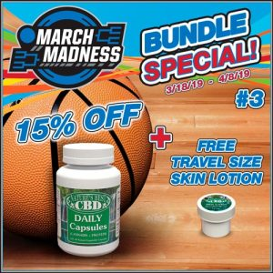 Picture of Nature's Best CBD March Madness Product Bundle #3 includes 15% off a 120 Daily CBD Protein Capsules, with a bonus of a free 1/2 oz travel size CBD Skin Lotion.