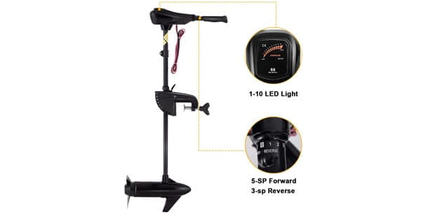 Goplus Electric Trolling Motor 465586 LBS Thrust Transom Mounted 8 Speed and Features
