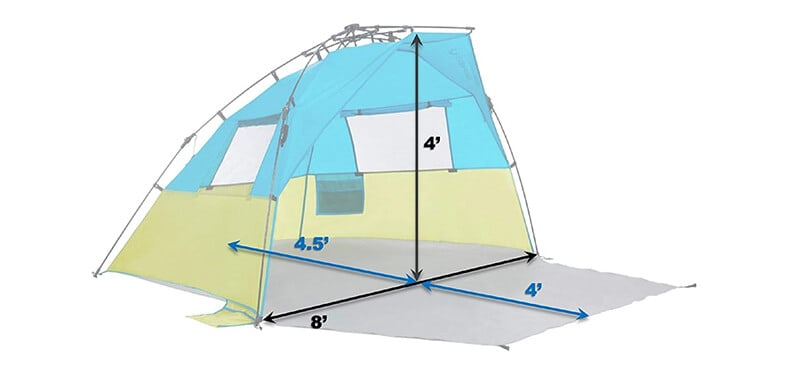 Lightspeed Outdoors Quick Cabana Beach Tent Sun Shelter Specifications