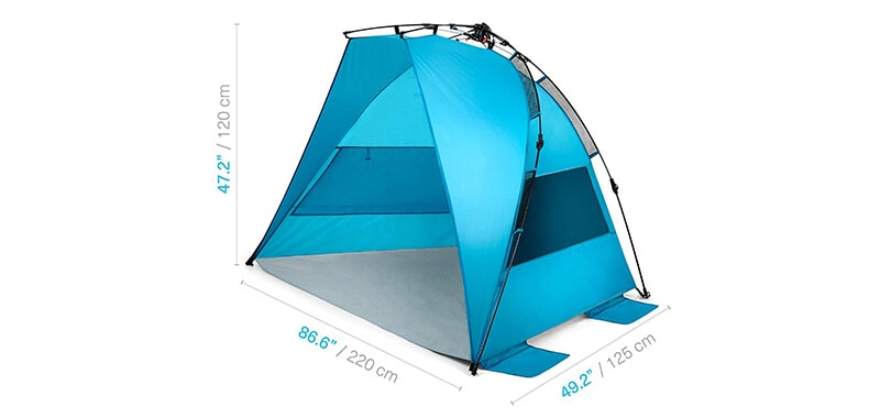 Pacific Breeze Easy Setup Beach Tent Specifications