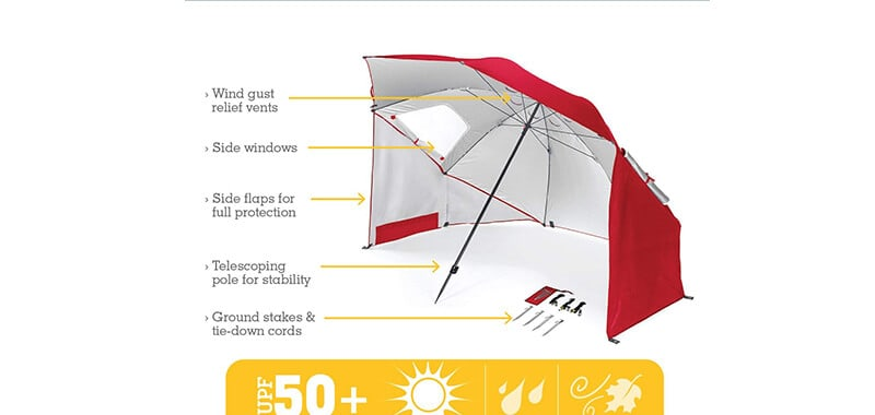 Sport-Brella Portable All-Weather and Sun Umbrella. 8-Foot Canopy Specifications