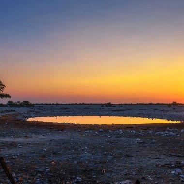 Sunset-over-Okaukuejo-waterhole-in-Etosha
