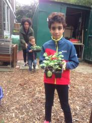 children learning to plant