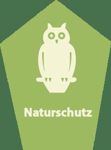 Eine grün-weiße Silhouette des anerkannten Naturschutz-Schildes.