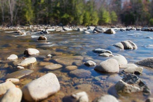 Ein Flussbett mit Steinen im Wasser.