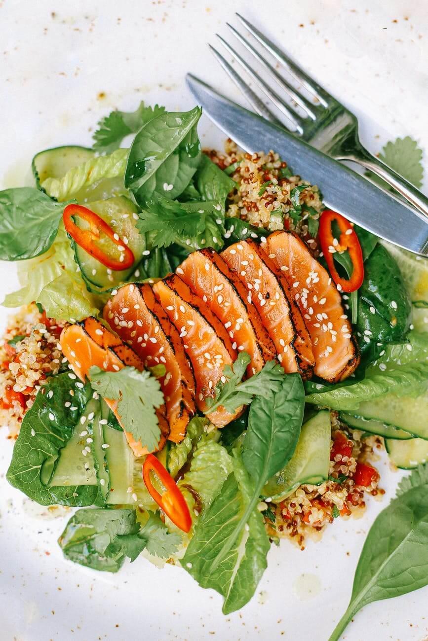 salmon and green vegetable salad