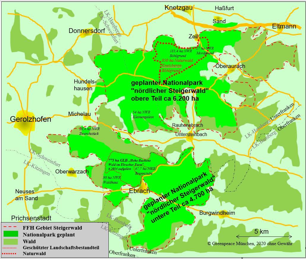 Karte für Nationalpark im nördlichen Steigerwald