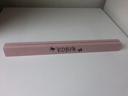 Speelkaartenstandaard van Steigerhout met naam Robin