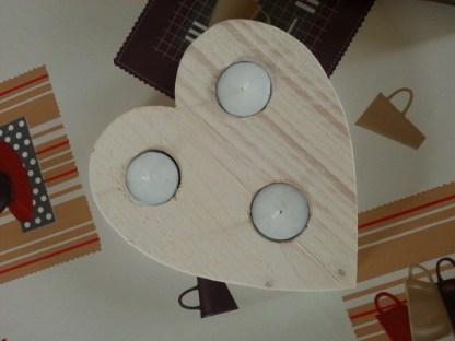 Waxinelichthouder van Steigerhout los hart in White-wash