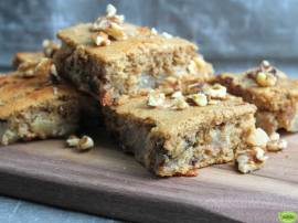 PEAR, WALNUT & DARK CHOCOLATE BLONDIES