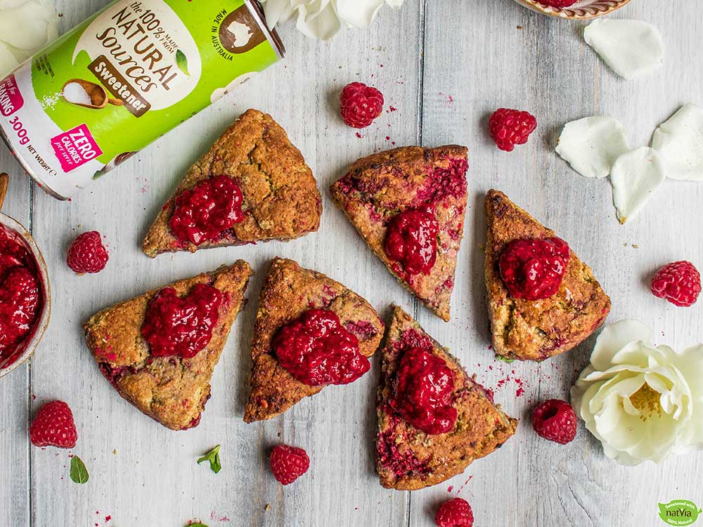 Raspberry and Peanut Butter Scones