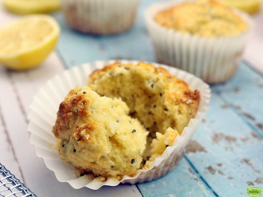 Lemon, Chia, and Coconut Muffins