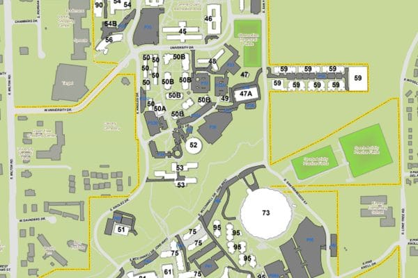 Maps   Northern Arizona University An overhead map of N A U from south Milton road in the west to Lone Tree  road