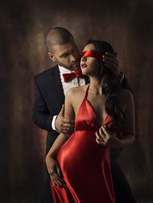 Couple in Love, Sexy Fashion Woman and Man, Girl with Red Band