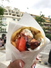 Now it's time for lunch. A gyro is currently common greek street food, it is made with some type of meat, tomatoes, onions, and a yogurt sauce wrapped with a piece of pita. The meat is grilled on a rotating skewer, cooked slow and long, which shows evidence of it from the Mycenaean Greek and Minoan periods. Gyros have also grown popular in other countries, which shows how one countries cuisine can influence another.
