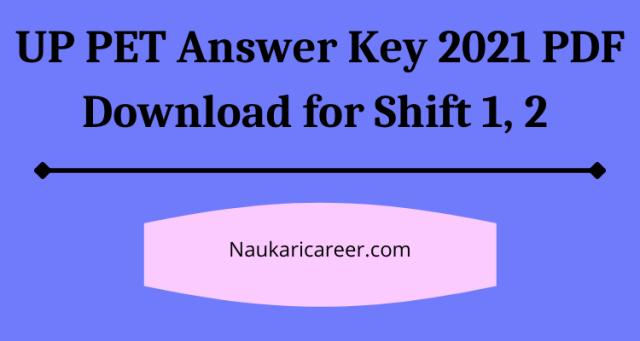 UP PET Answer Key 2021 PDF