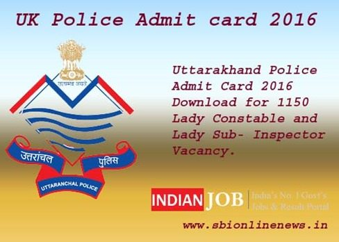 Uttarkhand Police Admit card 2016