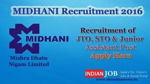 MIDHANI Recruitment 2016