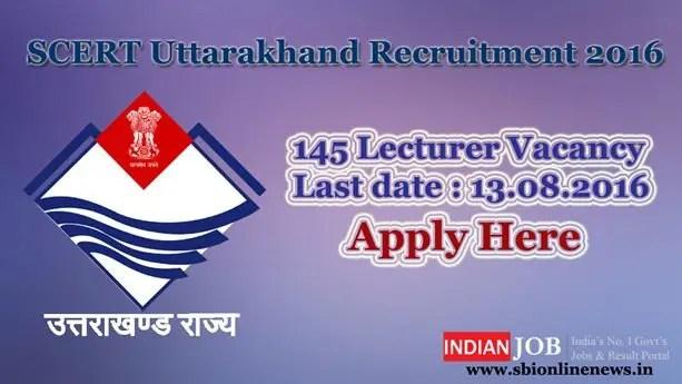 SCERT Uttarakhand Recruitment 2016 – 17