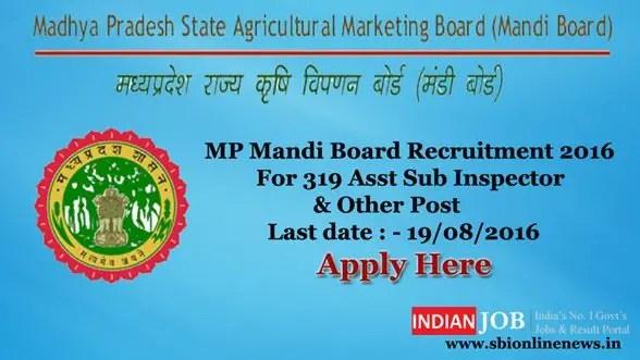 MP Mandi Board Recruitment 2016
