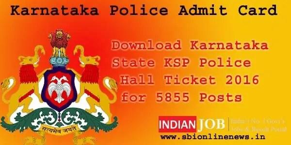 Karnataka Police Admit Card 2016