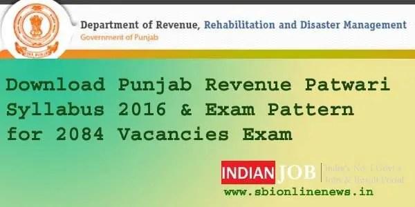Punjab Revenue Patwari Syllabus 2016