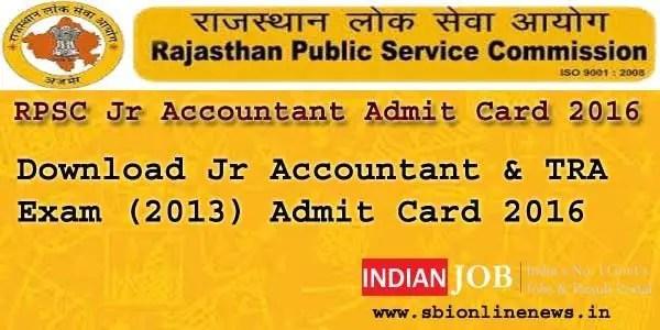 RPSC Jr Accountant Admit Card 2016