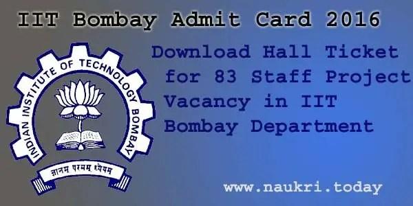 IIT Bombay Admit Cardt 2016