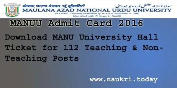 MANUU Admit Card 2016