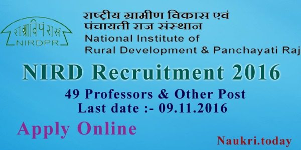 NIRD Recruitment 2016