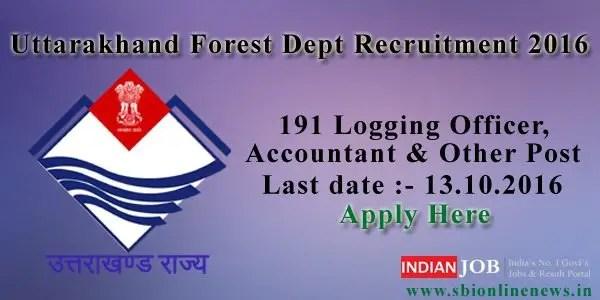 Uttarakhand Forest Dept Recruitment 2016