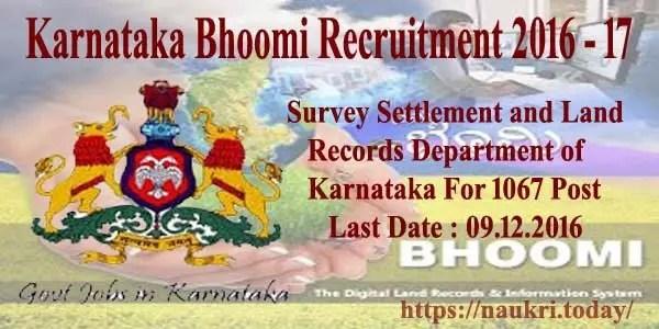 Karnataka Bhoomi Recruitment 2016 - 17