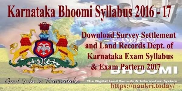 Karnataka Bhoomi Syllabus 2016 - 17
