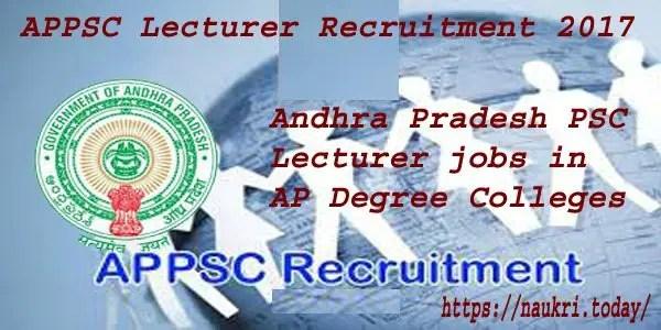 APPSC Lecture Recruitment 2017