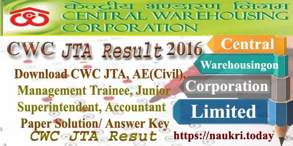 CWC JTA Result 2016