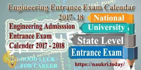 Engineering Entrance Exam Calendar 2017- 18