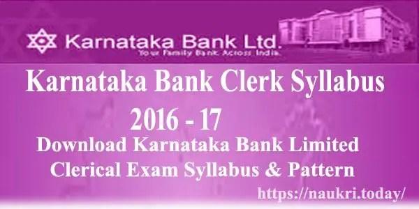Karnataka Bank Clerk Syllabus 2016 - 17