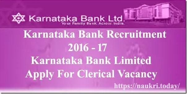 Karnataka Bank Recruitment 2016 - 17
