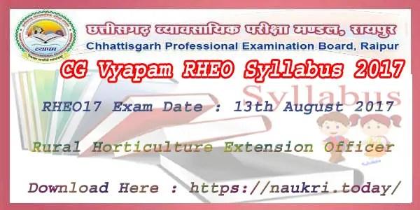 CG Vyapam RHEO Syllabus 2017