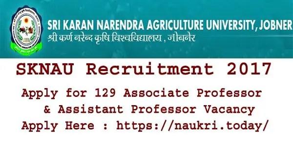 SKNAU Recruitment 2017