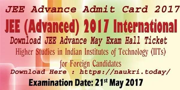 JEE Advance Admit Card 2017