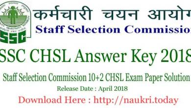 SSC CHSL Answer Key 2018