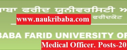 Apply Online for Medical Officer Posts-2021 in BFUHS, Last Date-30/04/2021.