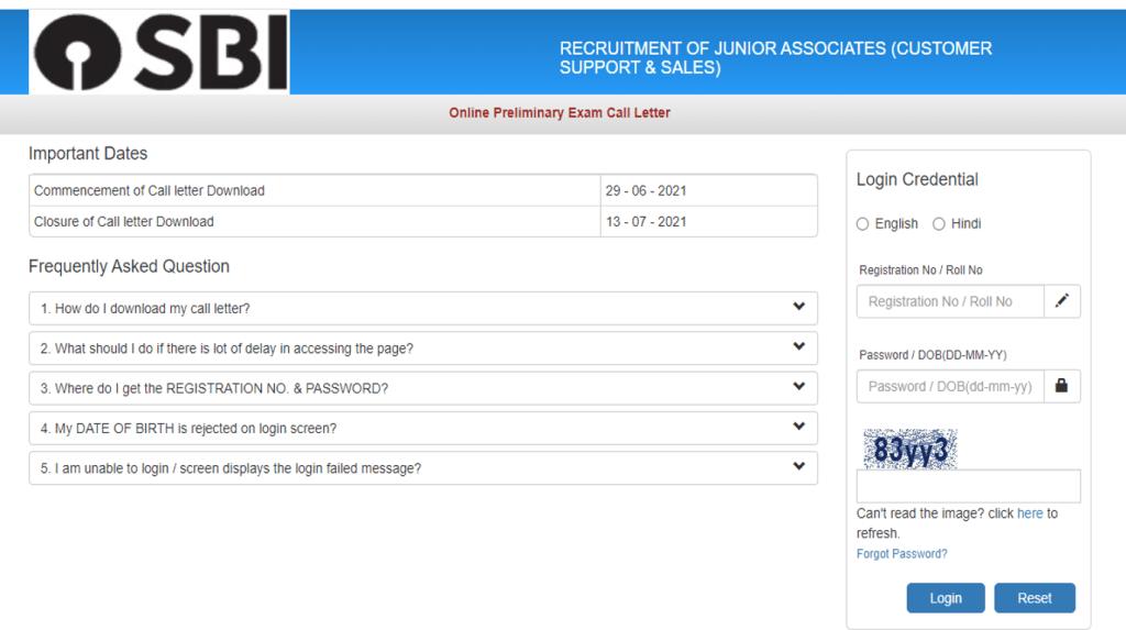SBI clerk admit card 2021