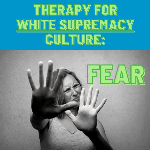 """A white person holds up their hands in defense with a fearful look on their face. The article's title appears: """"Therapy for white supremacy culture: fear"""""""