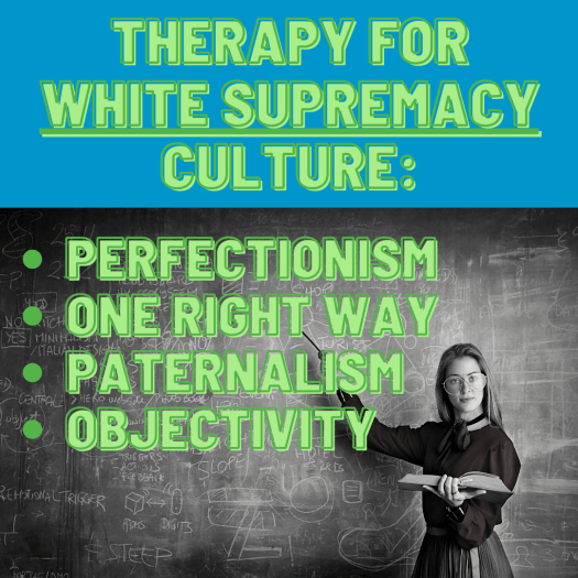 A white person with impeccable posture, dress, and grooming is holding a large book open in one hand while pointing to a lesson written on a chalkboard. In this way, they embody the perfectionism of white supremacy culture.