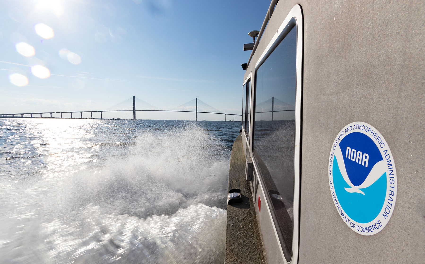 NOAA navigation response team vessel on the Brunswick River, Ga., heading toward the Sidney Lanier Bridge.