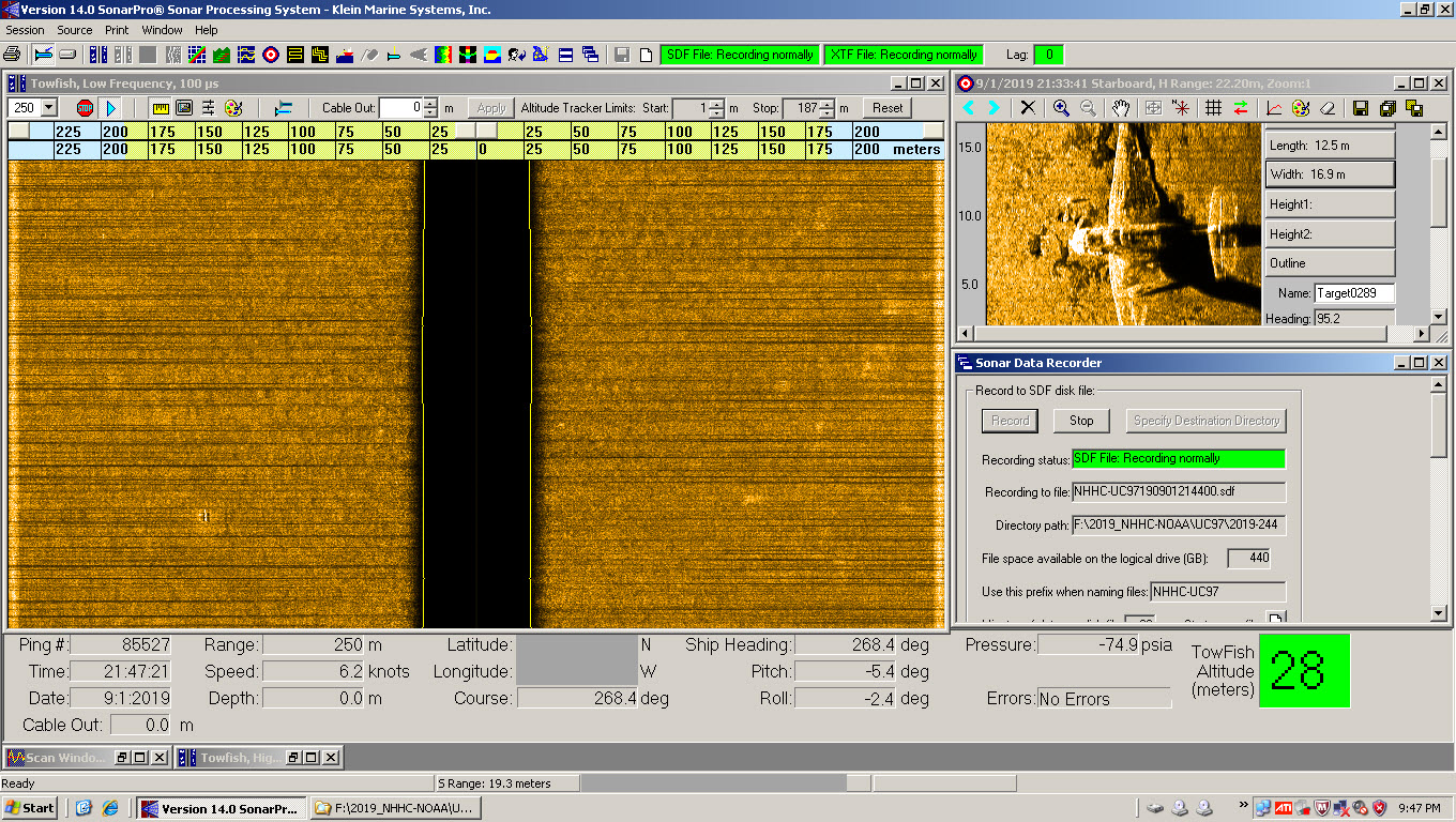 This screenshot of the side scan sonar shows what appears to be the outline of a plane. This target is not yet confirmed by divers.